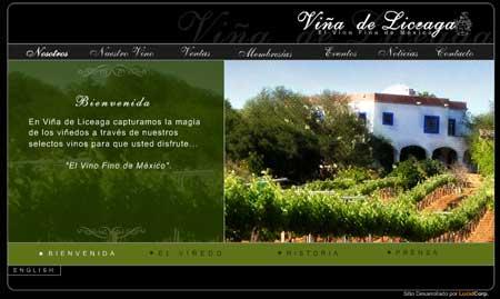Las vinicolas mexicanas en el Internet: Viña de Liceaga